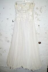 Yoly Munoz Ivory Tulle Lace Bridal Gown & Train 10 Bridesmaid Formal Party Dress $85.00
