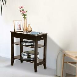 Hot Modern Night Stand End Side Bedside Table Organizer Wood Coffee $39.89