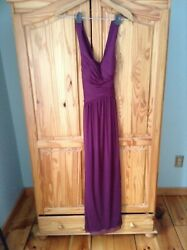 David#x27;s Bridal mesh long bridesmaid dress with crisscross back wine size 0