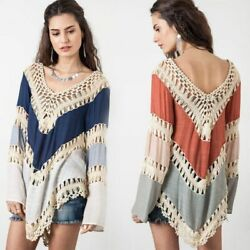 Summer Retro Women Beach Cover Up Dresses Crochet Bikinis Long Sleeves Tunic Top $27.43