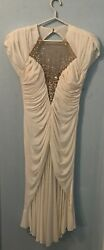 CASADEI Vintage 80#x27;s Ruched White Cocktail Dress with sequined inset size 6 $59.99