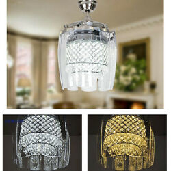 42quot; 8 Blades Invisible Ceiling Fan LED Luxury Crystal Remote Chandelier Lighting $169.19