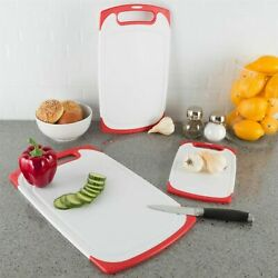 Plastic Cutting Board Set of 3 Chopping Boards Juice Groove Dishwasher Safe $17.99