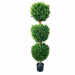 60 inch Realistic Fake Hedyotis Triple Ball Topiary Tree 5 Ft Indoor Outdoor $109.99