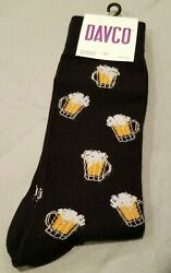 DAVCO Men#x27;s Beer Mug Crew Socks Novelty Shoe Size 6 12 NEW With Tag $7.99