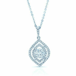 14K White Gold Round Diamond Marquise Eye Pendant Necklace 1.23 TCW Natural