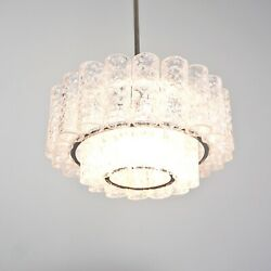 Doria Chandelier with 2 Levels and Elements from Ice Glass 1960er Years 5.Z