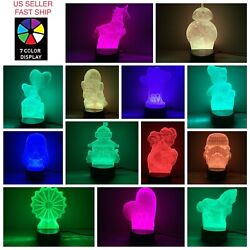 3D LED illusion USB 7Color Table Night Light Lamp Home Decoration Child Gift  $13.49