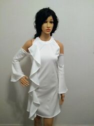 Women#x27;s White Dresses Ruffle Cold Shoulder Flare Long Sleeves size L $16.99
