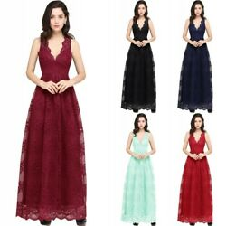 Women Long Lace Evening Formal Party Cocktail Dresses Prom Gown Bridesmaid Dress $35.19