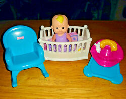 Fisher Price MY FIRST DOLLHOUSE Baby#x27;s Room Nursery Crib Rocker Bouncer Baby $27.99