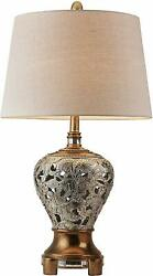 Elegant Drum Shade Neck Wrapped with Mirrored Floral Tiles Table Desk Lamp 30
