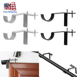 2PC Single Hang Curtain Rod Holders Tap Right Window Frame Curtain Rod Bracket $9.99