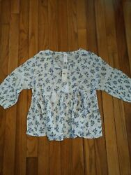 NWT Justice Girls White Ditsy Flower Print Peasant Top Size 8 10 12 14 16 18 20 $8.50