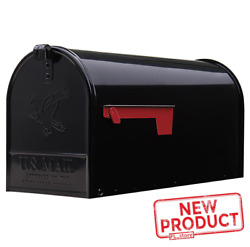 Large Post Mount Mailbox Metal Galvanized Rural House Mail Box Steel Black NEW $29.20