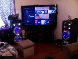 4..12s...8000 watts..bomb..syncronizing with games and movies..blue tooth