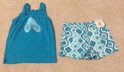 New Gymboree Aqua Summer Girl's Sz4 Short Set Sandals Top amp; Shorts Outfit $23.99