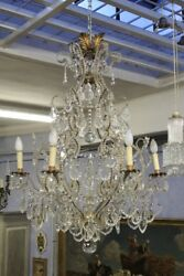 Chandelier Bronze GoldenHanging CrystalBeginning '900Chandelier (2)