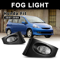 Fits 07-08 Honda Fit Fog Lights Clear Pair Lamps Wiring Switch Kit Replacement $44.17