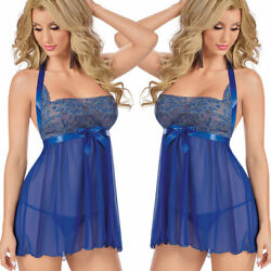 Plus Size Women Sexy Lingerie Halter Backless Lace Chemise Babydoll Set S-4XL $6.96