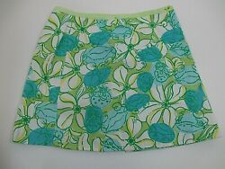 Lilly Pulitzer Girls Reversible Wrap Around Skirt FruitFlowers TealLime 6  $25.00