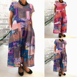Womens Dresses Printed Floral Oversized Loose Crew Neck Short Sleeve Long Dress