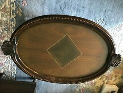 Antique table tray coffee tea butler inlaid wood top amp; removable glass tray $225.00