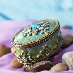 "Oval ""Bronze"" Blue & Green Enamel & Rhinestones Ring Holder $5.99"