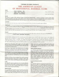 Jim Fregosi 1974 Texas Rangers Baseball Contract - Also Signed by Lee MacPhail $325.00