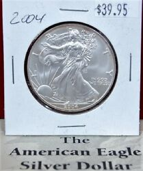 2004 American Silver Eagle BU 1 oz Coin US $1 Dollar Uncirculated Brilliant Flip