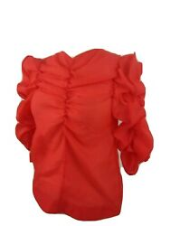 H&M Poppy Red Organza Ruffle Sleeve Blouse Womens Size 2 New Runway Trends 2020