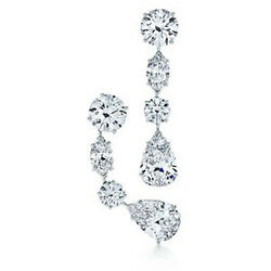 3.02 cts of Pear Round & Mq cut Diamonds Chandelier Platinum Earrings GIA F VS2