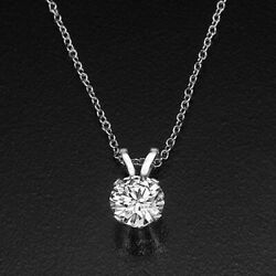 Round Real Enhanced Valentines Diamond Pendant 14KT White Gold 2.50 CT HSI2
