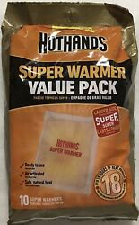 NEW! 10 Large HOTHANDS Body & Hand Super Warmers Value Pack 18 Hours Of Heat $8.49