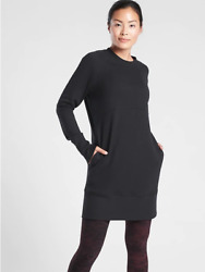 NEW Athleta MT M Tall Cozy Black Bounce Back Sweatshirt Dress Medium 8 10 $65.57