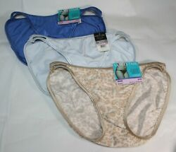 New set of 3 VANITY FAIR STRING BIKINI Illumination 18108 LIGHT BLUE BEIGE print $19.99