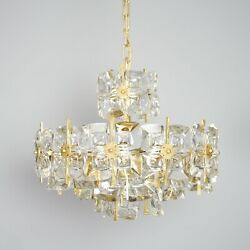 Palwa Brass Glass Chandelier Chandelier Brass And Glass 1960'S 5.Z