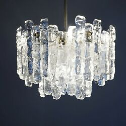 Kalmar Franken KG Seven -flame Ceiling Light Ice Glass Pendant Lamp 60's 5.Z