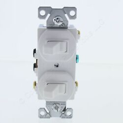 New Eaton Electric COMMERCIAL White DOUBLE Switch Duplex Toggle 15A 275W Boxed $10.88