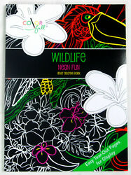 Wildlife Fluorescent Fun Adult Coloring Book Paperback - New