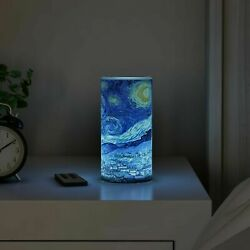 Scented Starry Night LED Candle Remote Timer Flickering Flameless Van Gogh Art $11.99