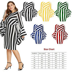 Women#x27;s Summer Boho Striped Long Sleeve Dresses Short Dress Party Beach Sundress $18.99