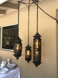 Antique Black Cast Handblown Amber Glass Chandelier