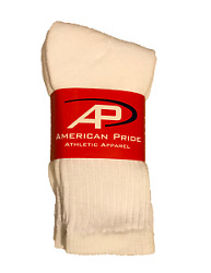 American Pride White Athletic Crew Women Socks 6 Pair Size 9 11 $10.95