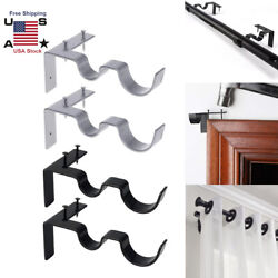 Kwik Hanging Double Center Support Curtain Rod Bracket Into Window Frame Right $10.99