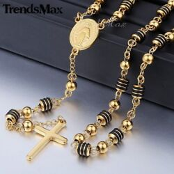 Men Stainless Steel Jesus Christ Cross Pendant Necklace Rosary Gold Plated Chain $12.34