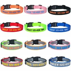 Personalized Dog Collar Reflective Nylon Custom Embroidered Name Adjustable XS L $7.30