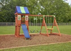 Wooden Swing Set Kids Playground Slide  Children Play Sandbox