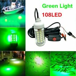 12V Green LED Underwater Submersible Fishing Light Night Crappie Shad Squid Lamp $11.79