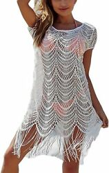 Ailunsnika Casual Swimsuit Cover Up for Women Loose Beach Bikini Dress $49.83